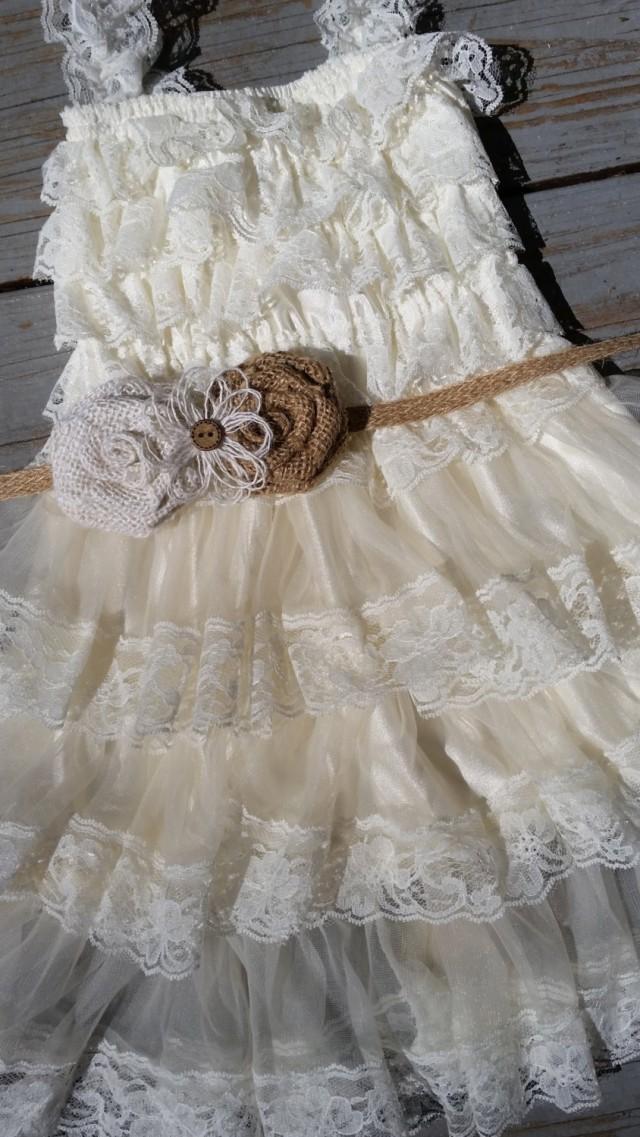 Rustic Ivory Burlap Flower Girl Lace Dress Pettidress