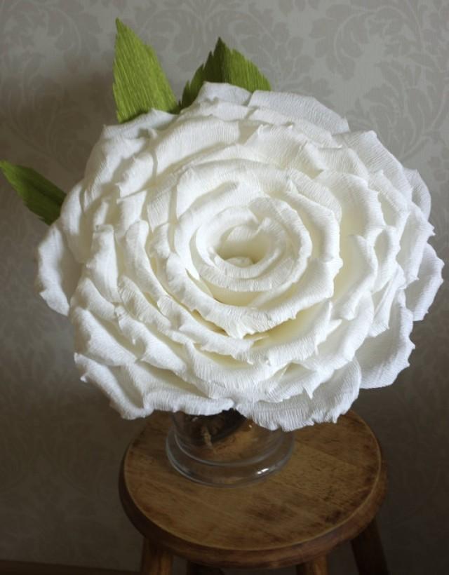 Custom Order For Giant Crepe Paper Rose 15 Inches Of Diameter White
