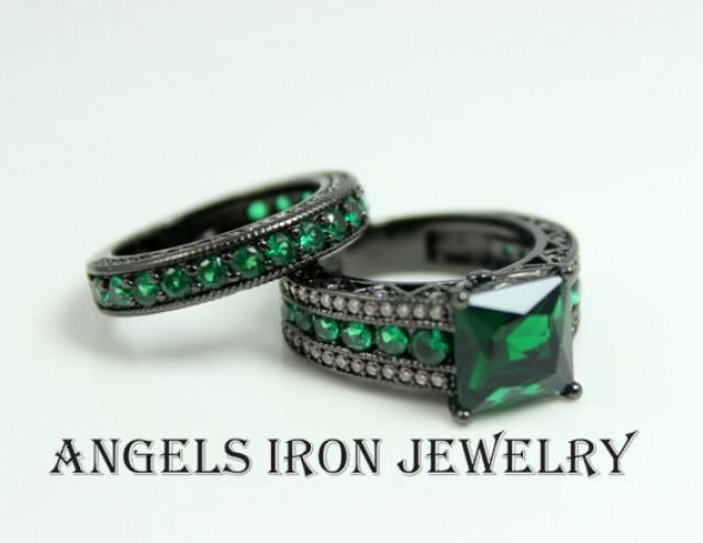 Green Emerald Promise Rings