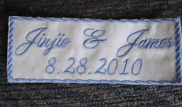 Something Blue Bride Wedding Label Custom Embroidered With