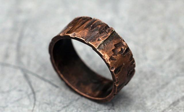 Rugged Copper Ring Band For Men Women Woodgrain Finish