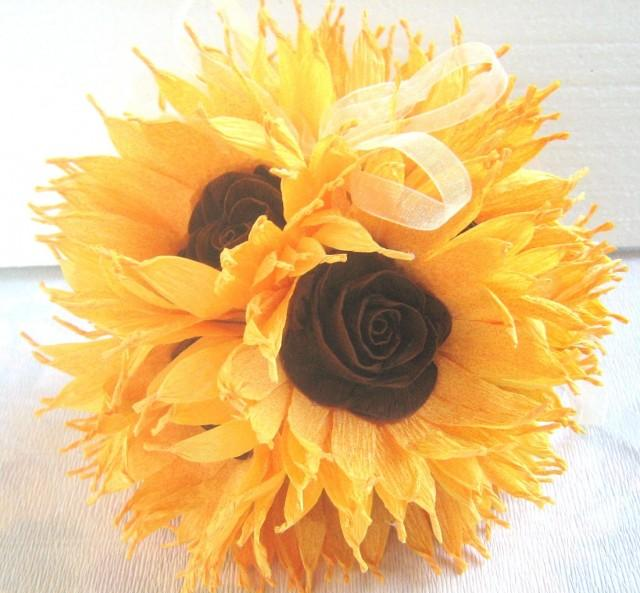Sunflower wedding hanging crepe paper flower balls pomander kissing sunflower wedding hanging crepe paper flower balls pomander kissing balls wedding centerpieces crepe paper flowers flower girl baby shower 2414988 mightylinksfo