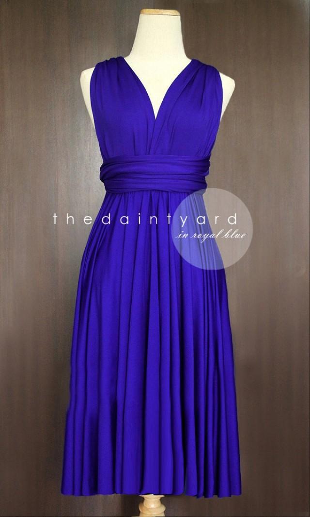 Short Straight Hem Royal Blue Bridesmaid Dress Convertible