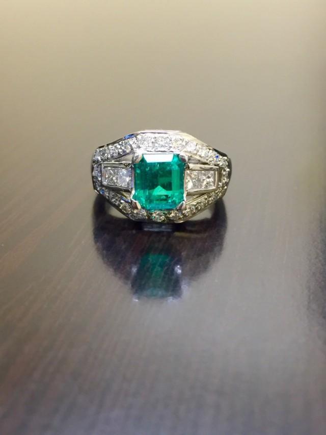 Emerald Engagement Ring Platinum Diamond Emerald Wedding