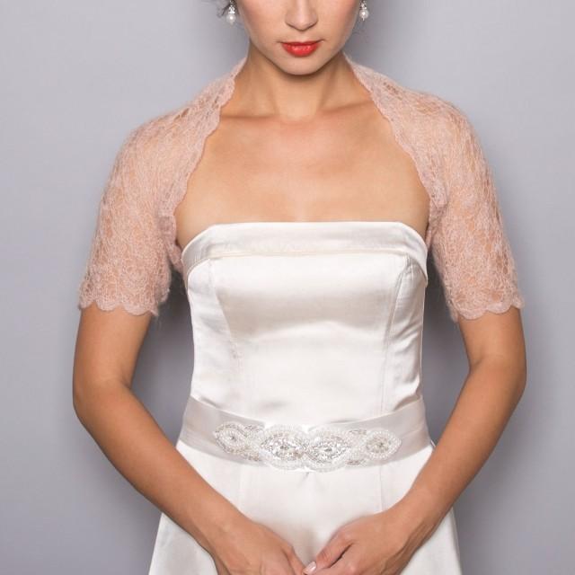 Sale Bridal Shrug Wedding Bolero In Beige Color Lace Pattern Hand