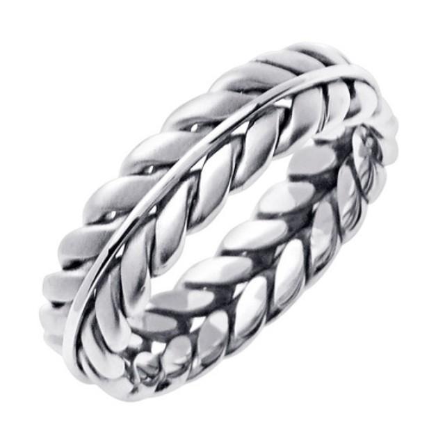 14k White Gold Hand Braided Wedding Ring Band For Men Or Women