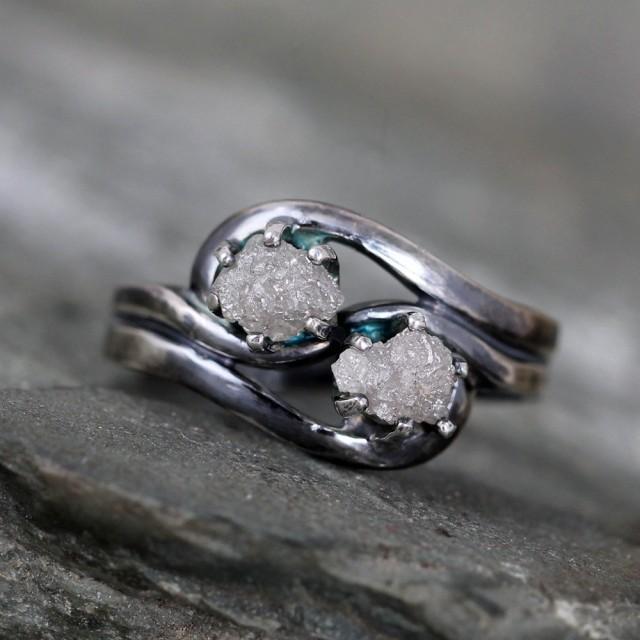 Two Stone Raw Diamond Ring 1 Carat Raw Diamond