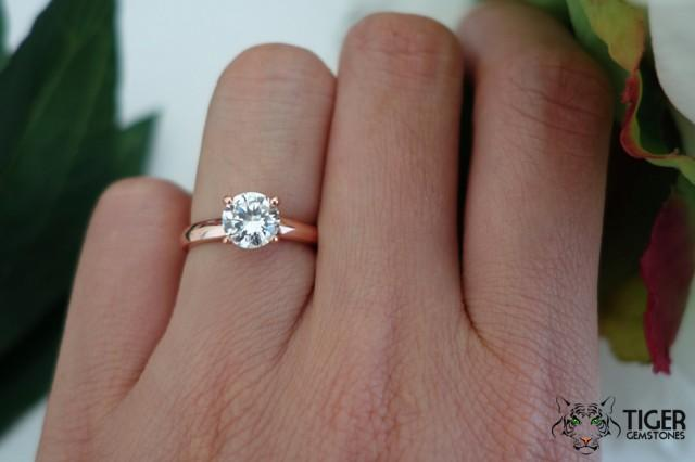 1 Carat Solitaire Ring Low Profile Rose Engagement Ring