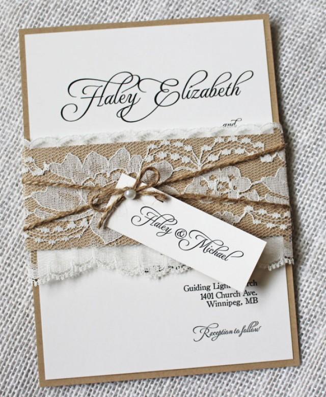 Rustic Wedding Invitations. Lace Wedding Invitation. Shabby Chic ...