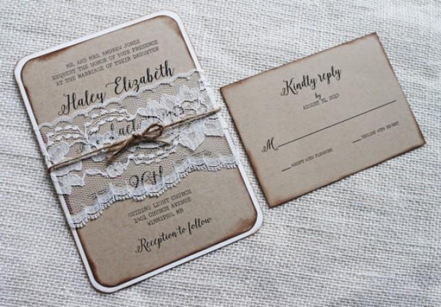 Rustic Wedding Invitation Vintage Lace Kraft Barn Country Elegant 2416706