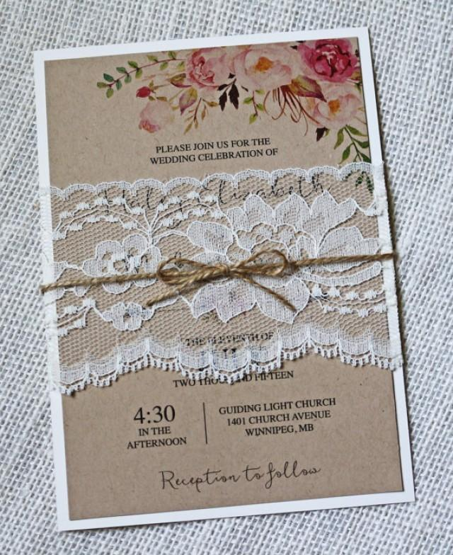Boho Wedding Invitation, Floral Wedding Invitation, Rustic Lace ...
