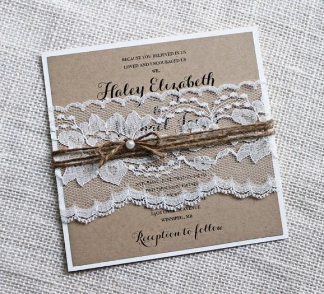 Rustic Wedding Invitations, Lace Wedding Invitation, Kraft