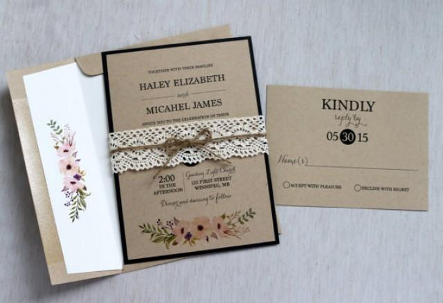 Rustic Wedding Invitation, Lace Wedding Invitation, Vintage Wedding  Invitation, Shabby Chic Wedding Invitation, Kraft, Modern #2416714    Weddbook