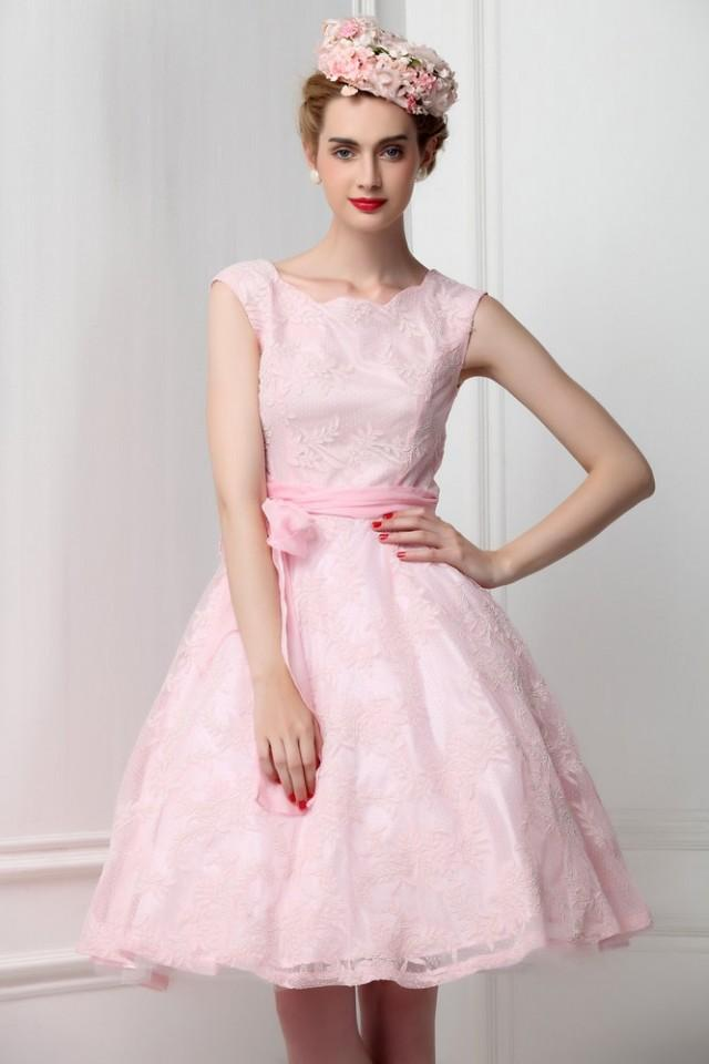French lace sleeveless pink bridesmaid dress ribbon bow for Wedding dress with red ribbon on waist