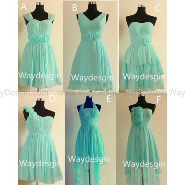 2014 new sky light blue rose bridesmaid dresses chiffon for Sky blue wedding guest dresses