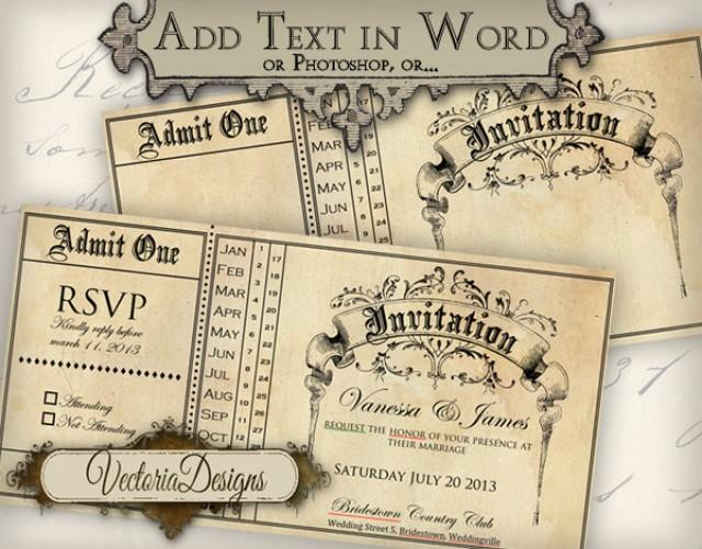 Printable Invitation Ticket 6 X 3 Inch Editable Wedding Invitation Printable Images Instant