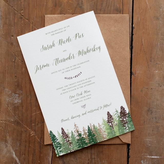 Wedding Invitation, Tree Wedding Invitation, Mountain