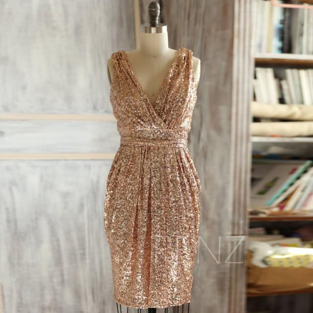 2015 Short Rose Gold Bridesmaid Dress Sheath V Neck