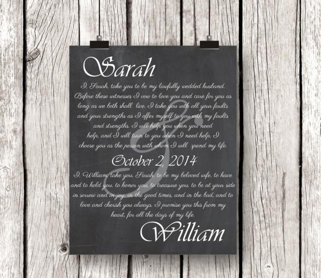 Wedding Vow Artwork: Wedding Keepsake, Personalized
