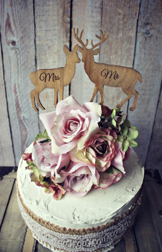 Deer Bride Groom Wedding Cake Topper Lover Hunting Hunter
