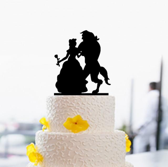 beauty and beast cake topper silhouette cake topper wedding cake topper custom cake topper. Black Bedroom Furniture Sets. Home Design Ideas