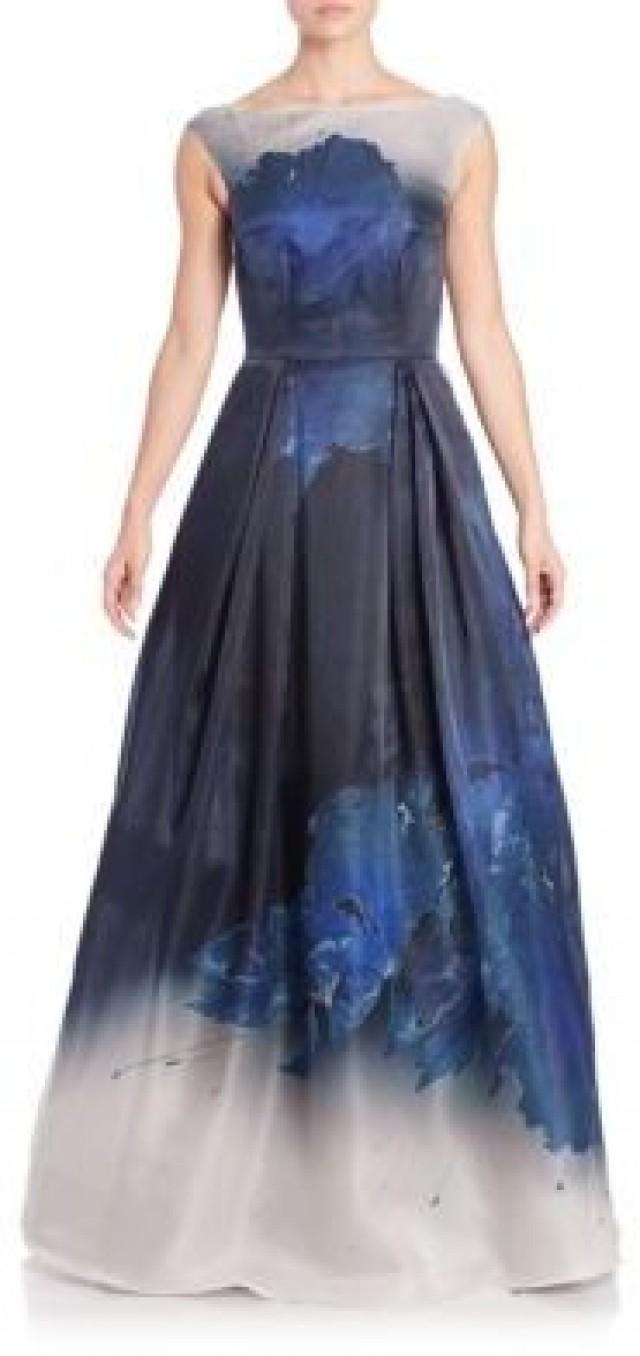 St. John Floral-Print Silk Organza Gown #2418511 - Weddbook