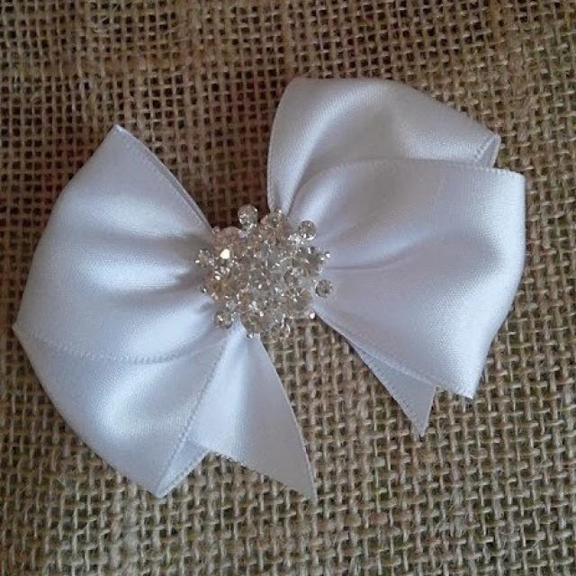 White Satin Hair Bow With Rhinestone Center White Flower