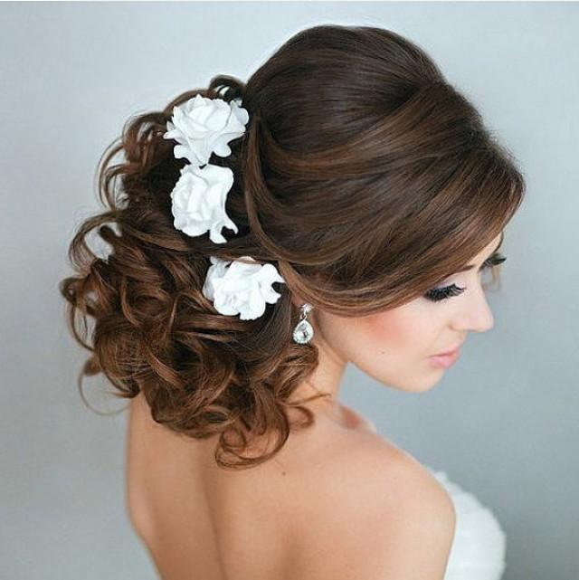 Bridal Hair Flower Roses Set Of 3 Wedding Hair Flower Bridal