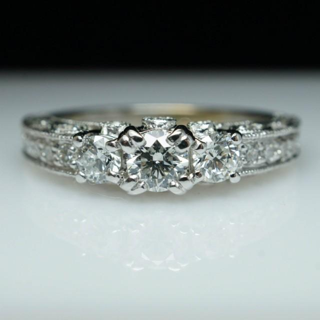 Filigree Diamond Engagement Ring 3 Stone Vintage
