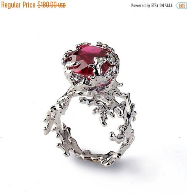 Black Friday SALE CORAL Ruby Engagement Ring Statement Ring Red