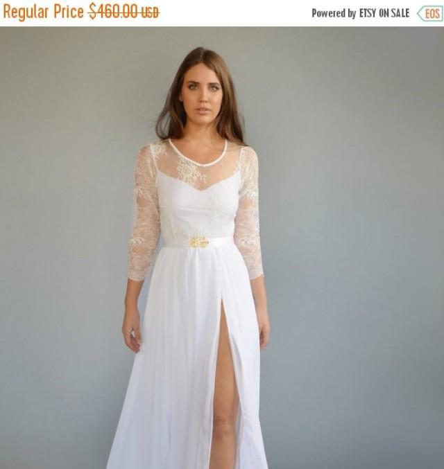 ON SALE Lace Wedding Dress, Mixed Lace Top, Wedding Dress, Long ...