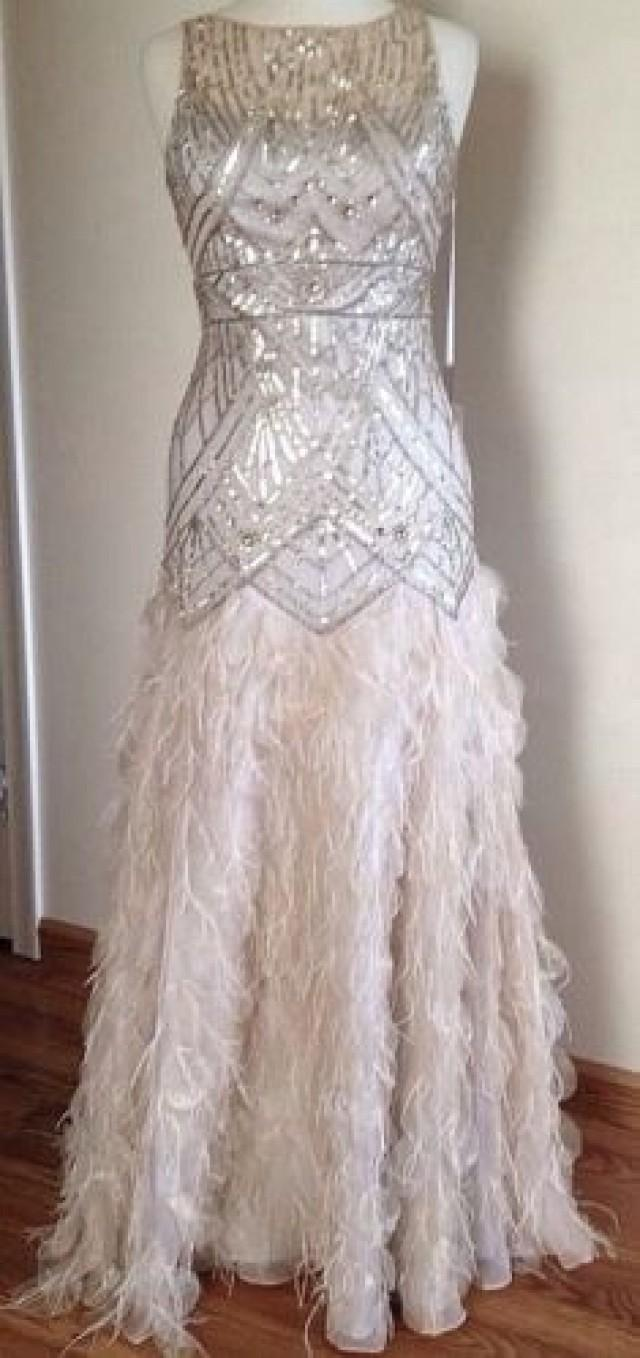 Sue Wong Gatsby Feather Gown Dress Pageant Wedding Prom Champagne