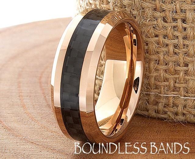 Tungsten Rose Gold Wedding Band Polished Beveled Edges 8mm