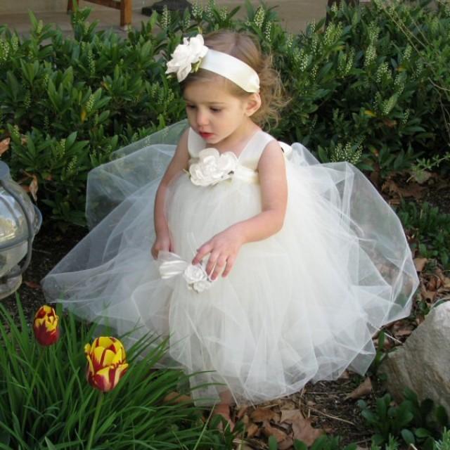 Flower Girl Dress Tutu - Ivory Tutu Dress - Flower Girl ...