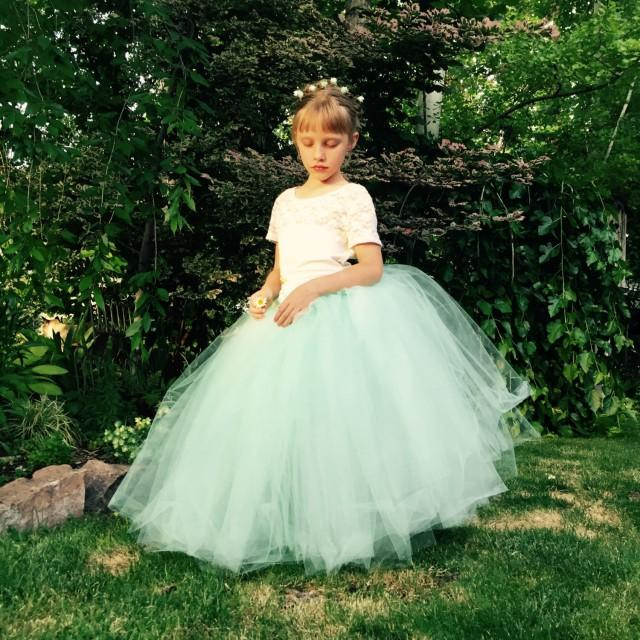Flower Girl Dresses For Garden Weddings: Flower Girl Dress Tutu Girls Mint Tulle Skirt Satin Ribbon