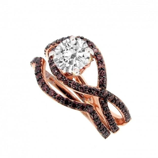 Unique Infinity Chocolate Brown Diamond Engagement And Wedding Ring Set  Setting/Semi Mount For 1 Carat Center Stone, Rose Gold #2420272   Weddbook