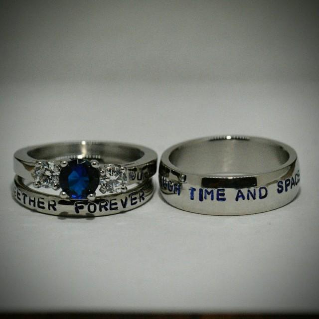 Doctor Who Inspired 3 Piece Wedding Set Hand Stamped