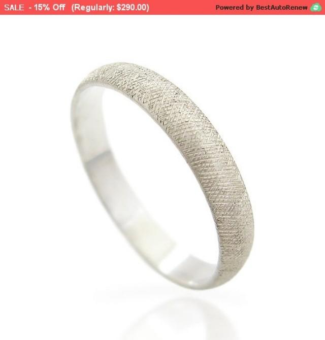 Black Friday Sale Textured Mens Wedding Band White Gold Ring For Men Personalized Unique B