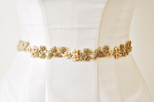 Flower sash wedding dress sash gold sash wedding flower for How to make a beaded belt for a wedding dress