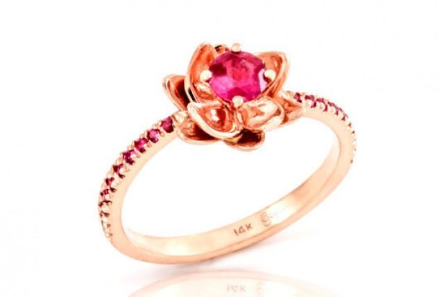 Unusual Ruby Wedding Gifts: Ruby Ring, Ruby Engagement Ring, Flower Engagement Ring
