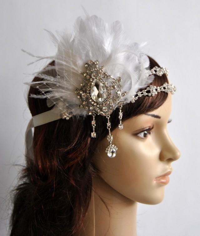 Luxury 1920s Rhinestone Headband Bridal Feather