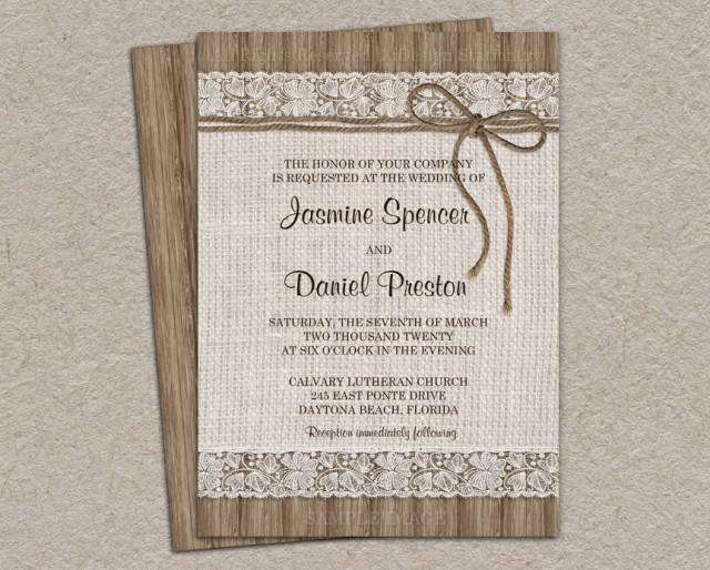 Rustic Burlap Wedding Invitation, DIY Printable Rustic Wedding Invitation  With Twine, Lace Wedding Invitations #2420995   Weddbook