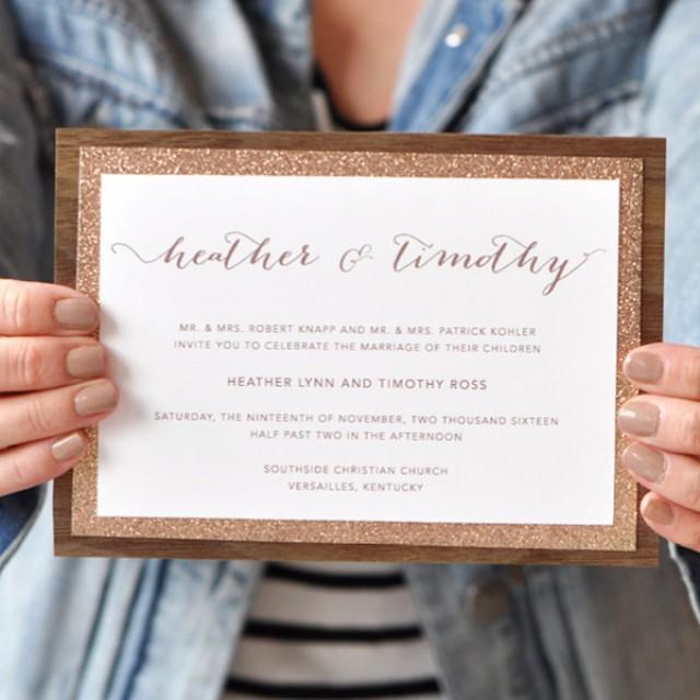 glitter wedding invitations rustic wedding invitation country