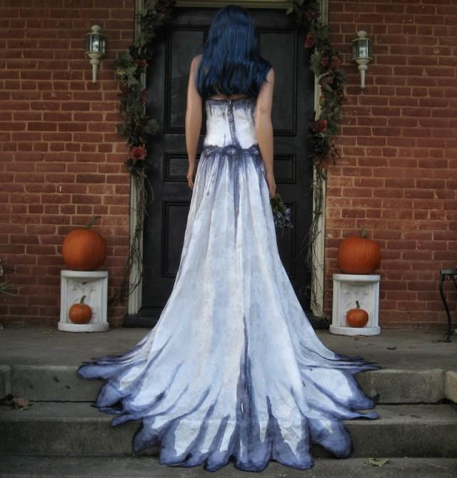 Corpse bride wedding gown hand painted gothic 2421229 for Painted on wedding dress