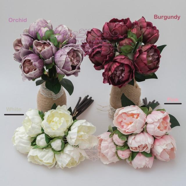 Five Pack Pink Peony Bouquet For Wedding Bridal Bouquets