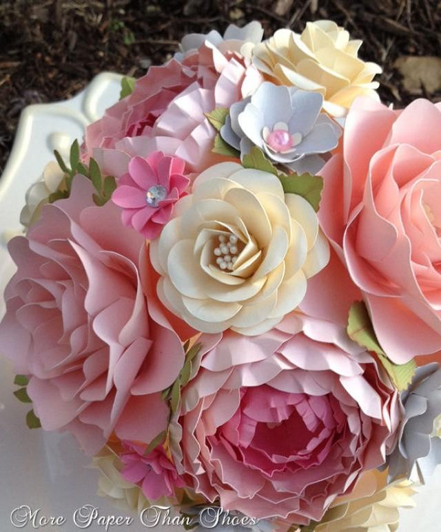 paper flower bouquet wedding bouquet shabby chic pink and grey made to order any color. Black Bedroom Furniture Sets. Home Design Ideas