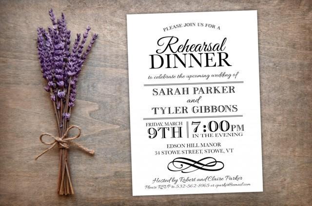 Printable Rehearsal Dinner Invitation Elegant Modern