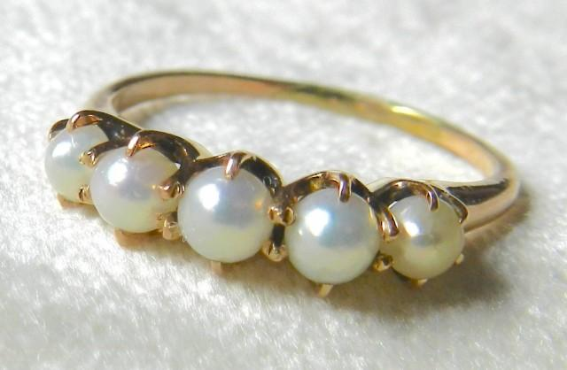 Antique pearl wedding band 14k rose gold victorian pearl for Pearl engagement ring with wedding band