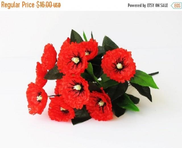 On sale 12 red poppies artificial silk poppy anemones bouquet 16 on sale 12 red poppies artificial silk poppy anemones bouquet 16 branch bush flowers wedding bouquets decoration decor leaves accessory flo 2422003 mightylinksfo