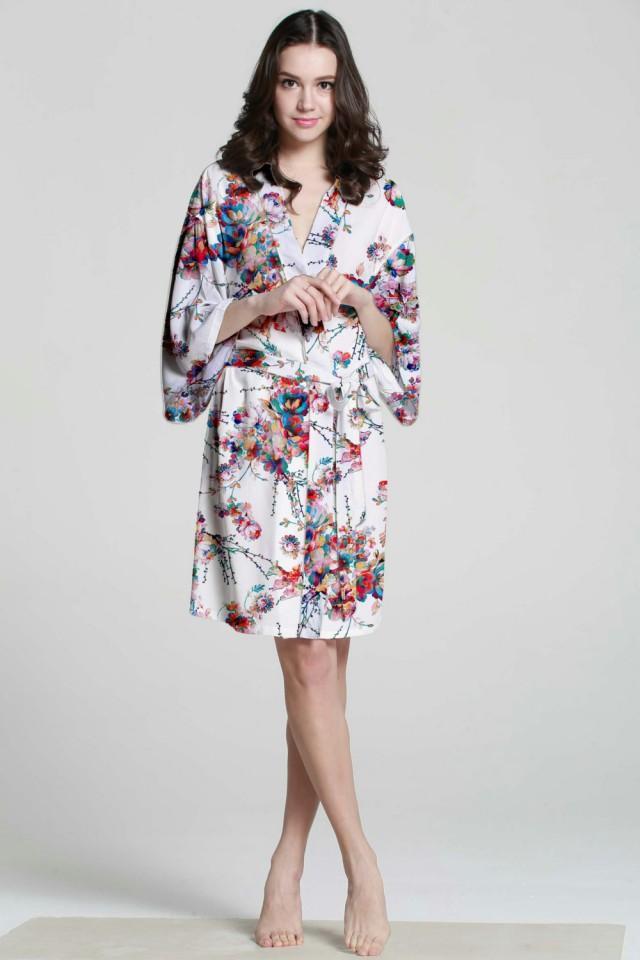 F07187 White Cotton Robe Floral Silk Robe Plus Size Bath Robe ...